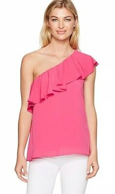 f8254adbcf0 French Connection Pink Crepe One-shoulder Top, S Small, Lilly Pulitzer Look,