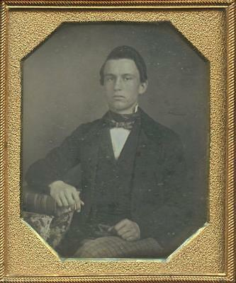 1840 CASED SIXTH PLATE DAG - SEATED YOUNG MAN w/ HAND ON BOOK - CLEAN CUT