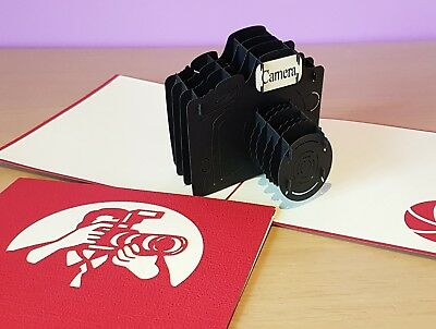 3D Pop Up Camera Card.(Birthday, Get well, Thank you, Congrats or All Occassions