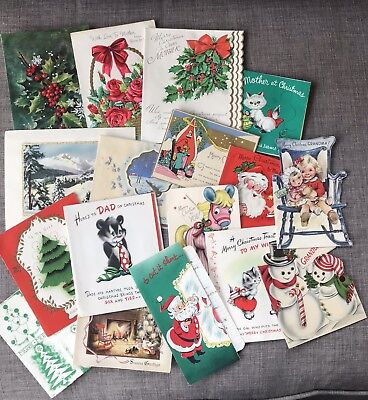 Vintage Christmas Greeting Cards - Lot of 17