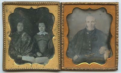 1840 TWO 6th PLATE DAGUERREOTYPES - MILITARY LOOKING MAN - WOMAN AND DAUGHTER