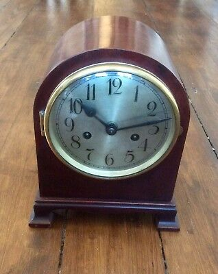 Antique Edwardian Art Deco Mantel Clock,Chiming,Mahogany,Brass Movement,Pendulum