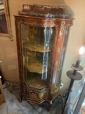 Antique French Display Cabinet Napoleonic Louis XV Style  Gilt And Rosewood
