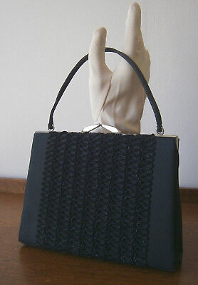 VINTAGE 1960s SMALL BLACK CREPE & LAME KELLY BAG SILVER METAL FRAME PARTY