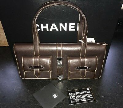 118926e96387 NWT! 100% AUTHENTIC CHANEL Brown Leather Shopping Tote Bag Purse ...