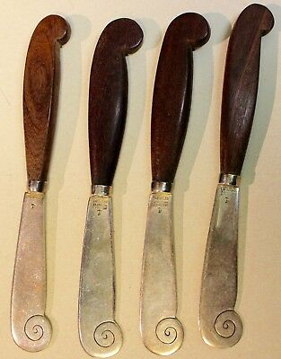 Hector Aguilar Sterling Rosewood Set 4 Aztec Butter Knives Mexico