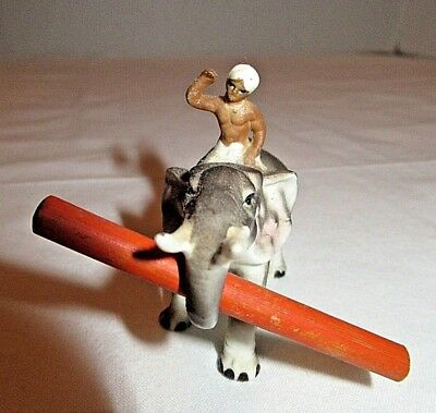 "Vintage Miniature Man Riding Elephant Ceramic Figurine 3"" Elephant rider"
