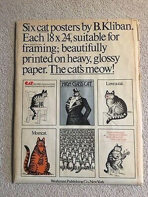 Four Cat Posters By B. Kliban 18x24 Heavy Glossy Paper In Original Envelope