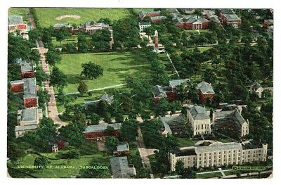 Vintage AERIAL VIEW UNIVERSITY OF ALABAMA Tuscaloosa AL Linen Post Card