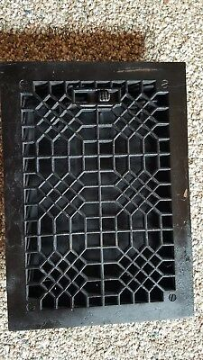 Antique Cast Iron Victorian Floor  Wall Grate Heat Vent Register Louvers 8x12