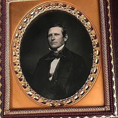 1/6 Plate Daguerreotype Image Of A Confident Gent, Fancy Full Leather Case