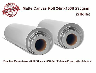 "2 Roll, 24""x100' Matte Polyester Inkjet Canvas Roll for HP Canon Epson Printers"