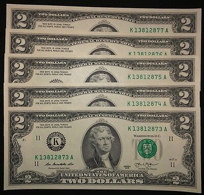 5 Sequential 2 Two Dollar Bills 2013 - Five Mint Notes Consecutive Uncirculated