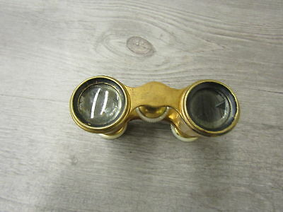 Antique Lemaire F1 Paris Mother Of Pearl & Brass Opera Glasses Binoculars