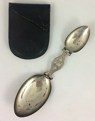 Antique TIFFANY & CO Travel STERLING SILVER Medicine FOLDING SPOON Leather CASE