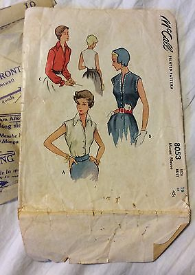 1950 McCall Sewing Pattern  8053 Misses' Size 16 Blouse