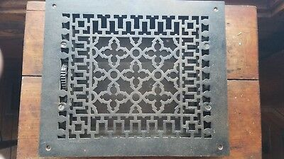 Antique Cast Iron Victorian Floor  Wall Grate Heat Vent Register Louvers 10x12