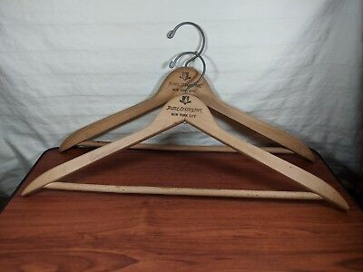 2 Vintage Wooden Advertising Suit Hangers New York Lexington Hotel