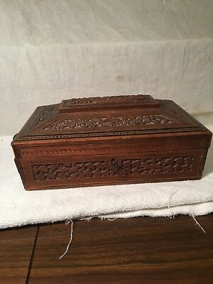 Antique Oriental Lap Desk All Hand Carved Mirrored Compartments Key, Locks Inlay