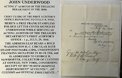1844 TREASURY DEPARTMENT 1st AUDITOR CHIEF CLERK LETTER SIGNED FREE FRANK COVER