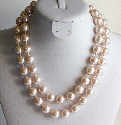 "VTG MONET 11.51mm PALE PINK FAUX PEARL BEADS 34"" NECKLACE ELEGANT RUNWAY EXC D45"