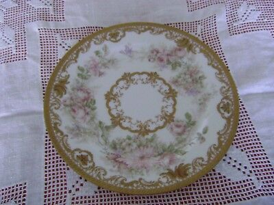 """Antique Haviland Limoges 8.5"""" plate hand painted pink roses pink chrysanthemums"""