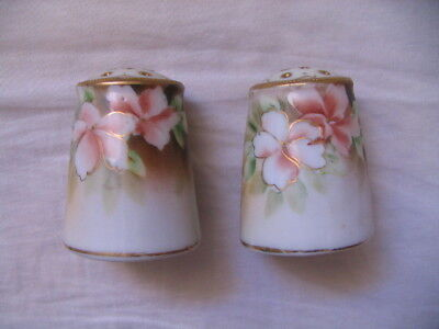 Vint. Nippon Noritake Hand Painted Floral With Gilding Salt & Pepper w/Stoppers