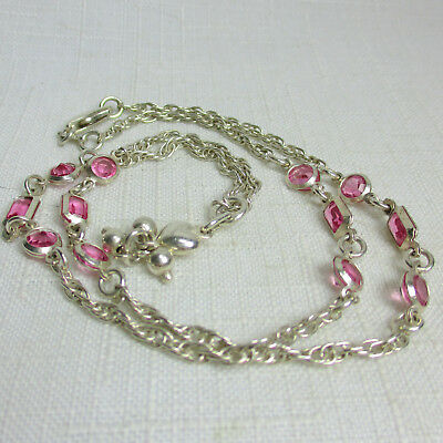 Vintage Estate Sterling Silver 925 Necklace with Pink Crystal Beads and Dangle