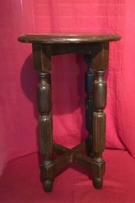Antique Vintage 30s Ornate Hand Turned Pedestal Planter Stand Occasional Table