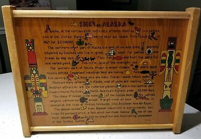 "Alaskan folk art serving tray, wall plaque. Nice vintage ""STORY OF ALASKA"""