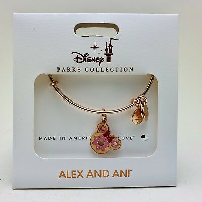 Disney Alex And Ani Rose Gold Donut Bracelet Snack Minnie Mouse Donut Bangle New