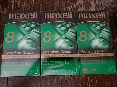 NEW Sealed 3 Maxell Premium Grade T-160 8-Hour VHS Tapes Blank Video Cassette