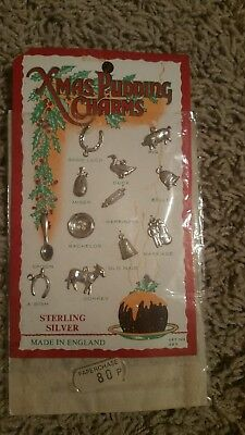 Vintage Sterling Silver Christmas Pudding Charms - unopened ENGLAND