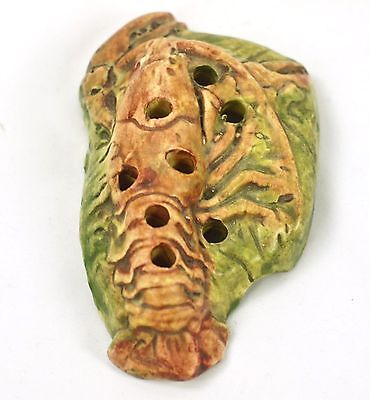 "WELLER MUSKOTA POTTERY MARKED 5 3/4"" LOBSTER  8 HOLE FLOWER FROG CIRCA 1920s"