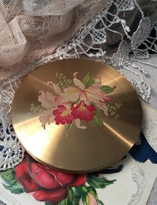 Vintage Collectable Le Rage Painted hibiscus flower gold Vanity Powder Compact