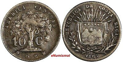 COSTA RICA Silver 1865 GW 10 Centavos Mintage-185,000 XF for Type KM# 111