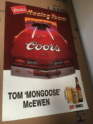 Rare 1984 Coors Corvette Racing Team Poster, Never Hung, Free Shipping Mongoose