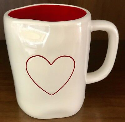 Rae Dunn by Magenta Double Sided Valentine's Red Heart Mug Red Interior