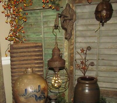 Primitive Antique Vtg Style Carriage Country Farm Hanging LED Light Lamp AS IS