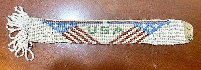 Antiques Americana Hand Glass Beading Bracelet South Western USA Patriotic