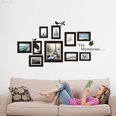A909 10x Picture Photo Frame Wall Black Frames Sticker Vinyl Decal Home DIY