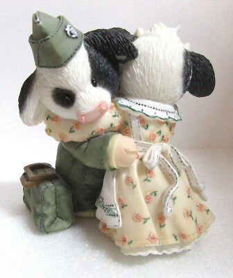 Mary's Moo Moos IT'S UDDERLY HERD TO LEAVE YOU Marine Military Cow Figurine