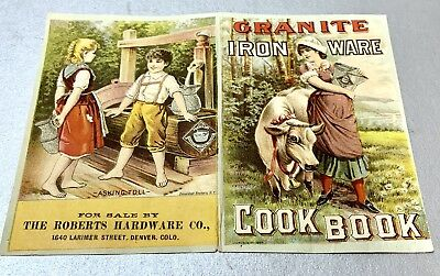 Vintage Granite Iron Ware Cook Book Cover Advertisement Chromolithographic