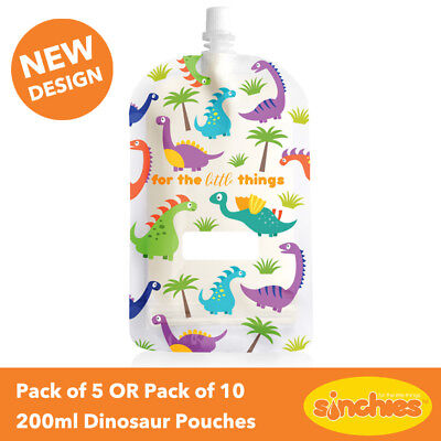 Sinchies Dinosaur Reusable Food Pouches 200ml - Pack of 5 OR Pack of 10