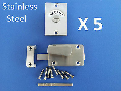 5 X Indicator Bolts Stainless Steel Bathroom Toilet Door Lock Vacant Engaged