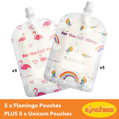 Sinchies Reusable Pouches 150ml Pack of 10 (5 x Unicorn AND 5 x Flamingo Design)