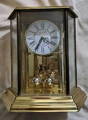 Vintage Bulova Anniversary Carriage Style Quartz Clock W993 Germany Battery Run