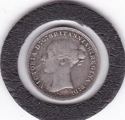 Solid  Silver  1873   Queen  Victoria  Threepence  (3d)  (92.5%) Coin