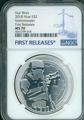 2018 STORMTROOPER $2 NIUE STAR WARS DARK SIDE 1 Oz Silver NGC MS70 First Release