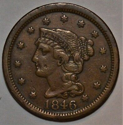 1846 BRAIDED HAIR LARGE CENT - GREAT DETAIL - .99c START, NO RESERVE